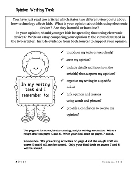 Opinion Writing Task:  Should younger  kids be using electronic devices?