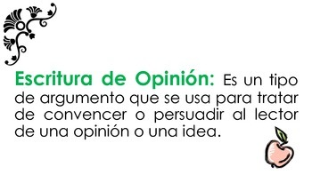 Opinion Writing Teacher Guide Packet in Spanish