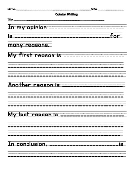 opinion writing template by miss zichelli teachers pay teachers. Black Bedroom Furniture Sets. Home Design Ideas