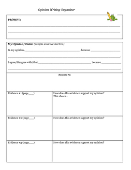 Opinion Writing Template and Organizer