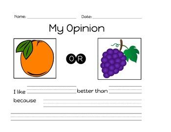 Opinion Writing Templates