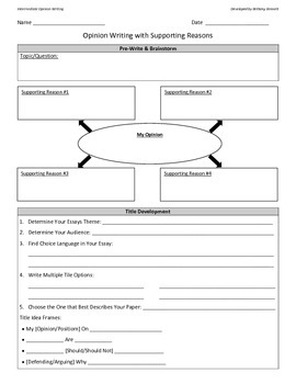 Opinion Writing Templates for Beg, Int. and Adv. English P