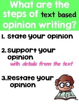 Text Based Opinion Writing Unit for First and Second Grade