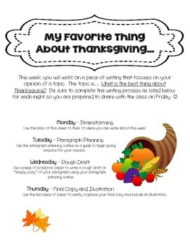 Opinion Writing: Thanksgiving Favorites