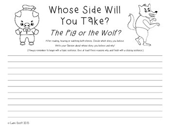 Opinion Writing: Three Little Pigs vs The Big Bad Wolf