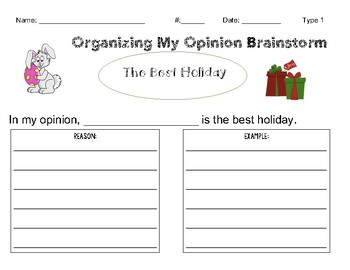 Opinion Writing Tiered Workshop:  Favorite Holiday