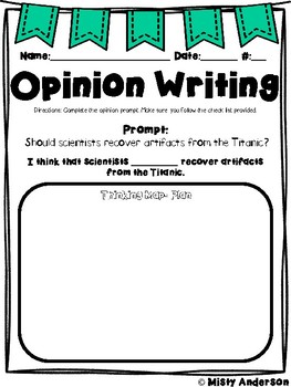 Opinion Writing: Titanic Prompt with reading passages