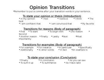 Opinion Writing Transition Words/Phrases