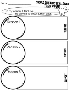 Opinion Writing Unit | Grades K-3 | Should Students Be Allowed to Chew Gum?