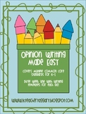 Writing Opinion Unit for K-1