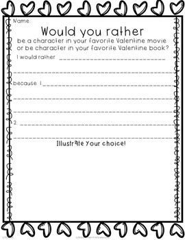 Opinion Writing Valentine: Would You Rather?