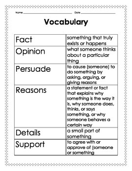 Opinion Writing Vocabulary