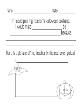 Opinion Writing: What costume do you want your teacher to wear?