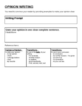 Opinion Writing Workbook with student checklist