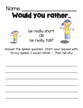 Opinion Writing: Would You Rather Writing Prompts