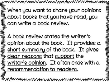 Opinion Writing: Writing a Book Review Power Point