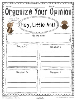 Opinion Writing and Graphic Organizer-Hey Little Ant {Differentiated}