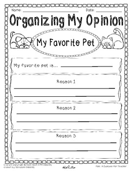 Opinion Writing and Graphic Organizer-My Favorite Pet {Differentiated}