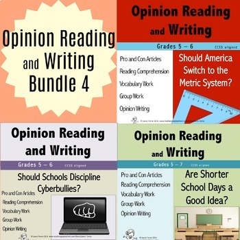 Opinion Writing and Opinion Reading Bundle 4