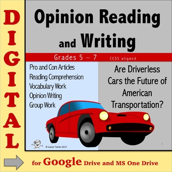 Opinion Writing and Reading DIGITAL - Driverless Cars? Distance Learning