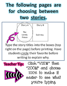 Opinion Writing for Kindergarten; My Favorite Book or Story ~EDITABLE~