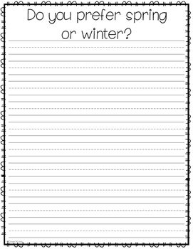 Opinion Writing for Little Learners~Spring or Winter