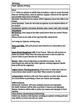 Opinion Writing on Ice Cream Common Core Lesson Plan Editable