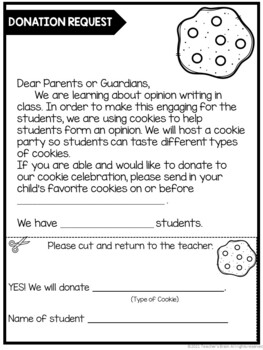 Opinion Writing First Grade Unit with COOKIES - Supports Common Core
