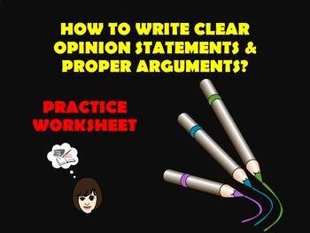 Opinion and Arguments Practice Worksheet