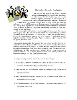 Opinion or Fact- worksheet