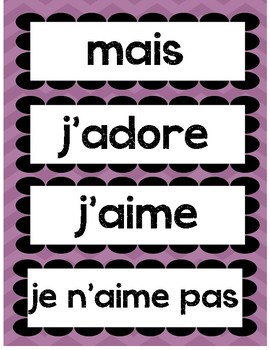 Opinion words in French and English- Persuasive writing word wall