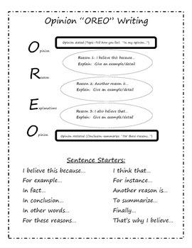 Opinion writing poster/anchor chart (O-R-E-O)