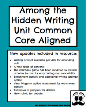 "Opinion/Argumentative Common Core Writing Unit- ""Among the Hidden"""