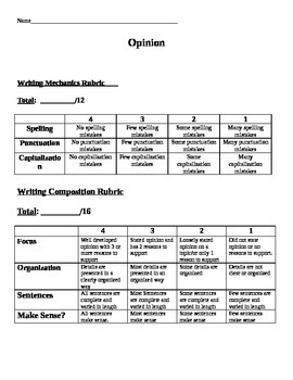 3 Writing Rubrics
