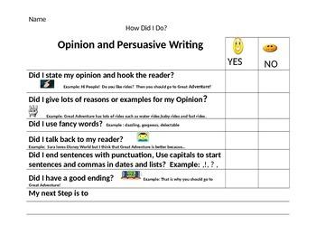 Opinion/Persuasive Writing Rubric