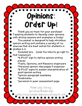 Opinions: Order Up!- CCSS W.1 Opinion Unit for grades 2-4