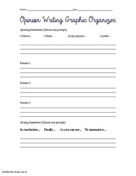 Opinon Writing Graphic Organizer