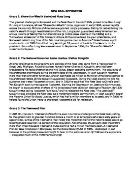 Opponents of the New Deal Graphic Organizer and Readings