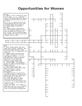 Opportunities for Women Crossword