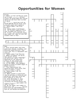 Opportunities for Women Crossword