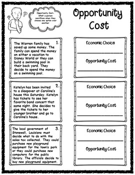 Opportunity Cost Informational Article & Graphic Organizers