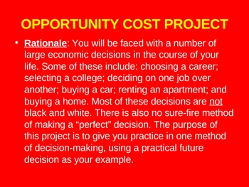 Opportunity Cost Project