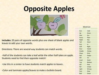 Opposite Apples Antonyms Matching Game Bulletin Board