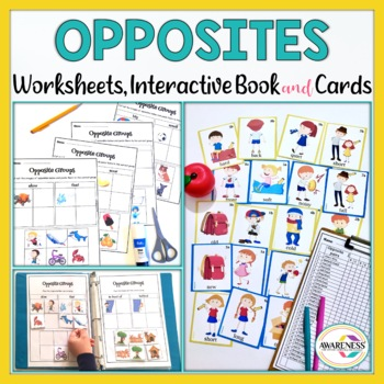 Opposites Worksheets and Flash cards for speech therapy