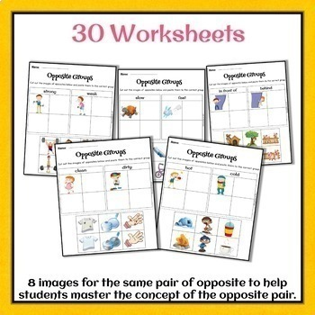 Opposites-Antonyms Worksheets and Flash cards for speech therapy