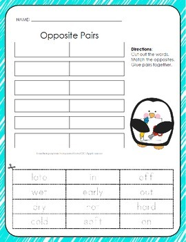 Opposite Pairs - Cut, Match, and Paste - 3 Pack