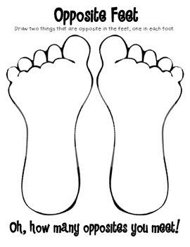 Opposite Feet an Antonym Activity