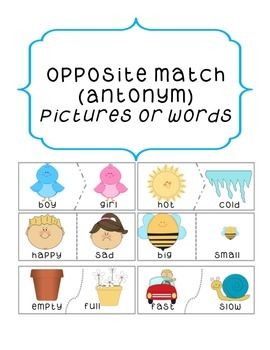 Opposite Matching Game- Primary Language Literacy Centres Spring
