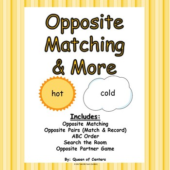 Opposite Matching & More Centers- Literacy Centers (Minimal Prep Work)
