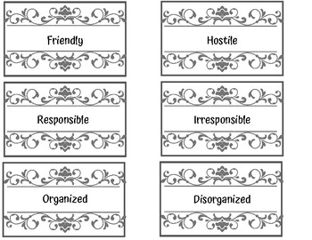 Opposite character traits to teach foils